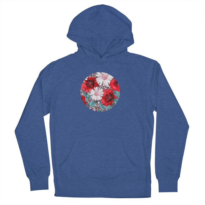 Red Poppies and Margarites Men's French Terry Pullover Hoody by fruityshapes's Shop