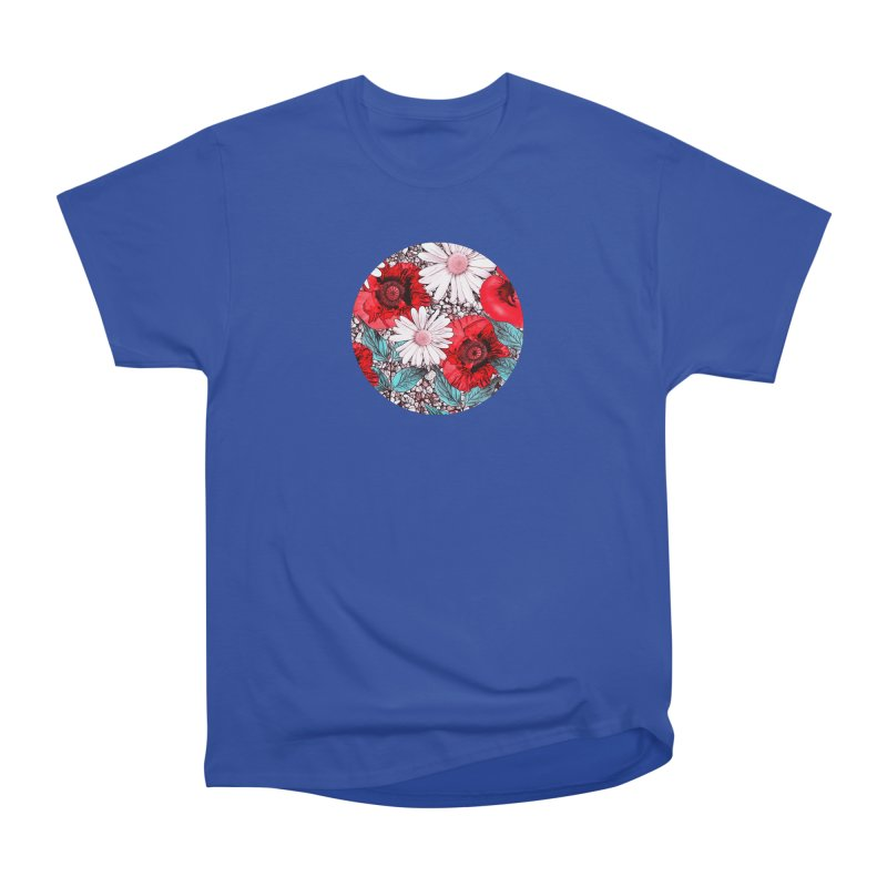 Red Poppies and Margarites Men's Heavyweight T-Shirt by fruityshapes's Shop