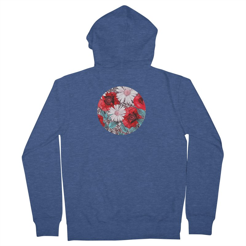 Red Poppies and Margarites Women's Zip-Up Hoody by fruityshapes's Shop