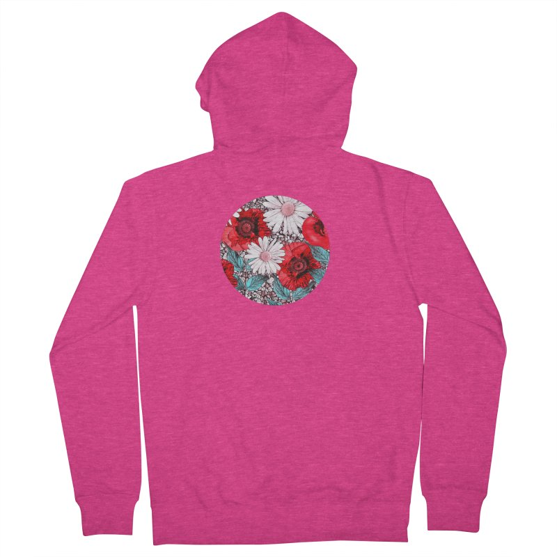 Red Poppies and Margarites Women's French Terry Zip-Up Hoody by fruityshapes's Shop