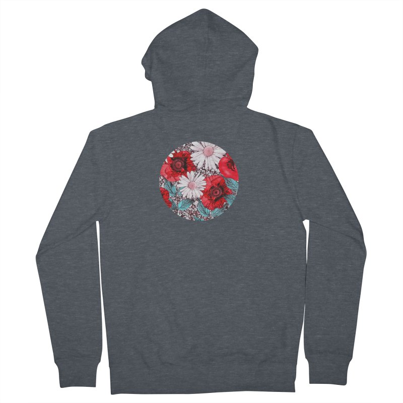 Red Poppies and Margarites Men's French Terry Zip-Up Hoody by fruityshapes's Shop