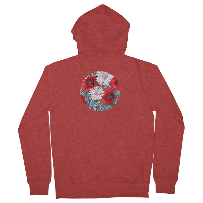 Red Poppies and Margarites Men's Zip-Up Hoody by fruityshapes's Shop