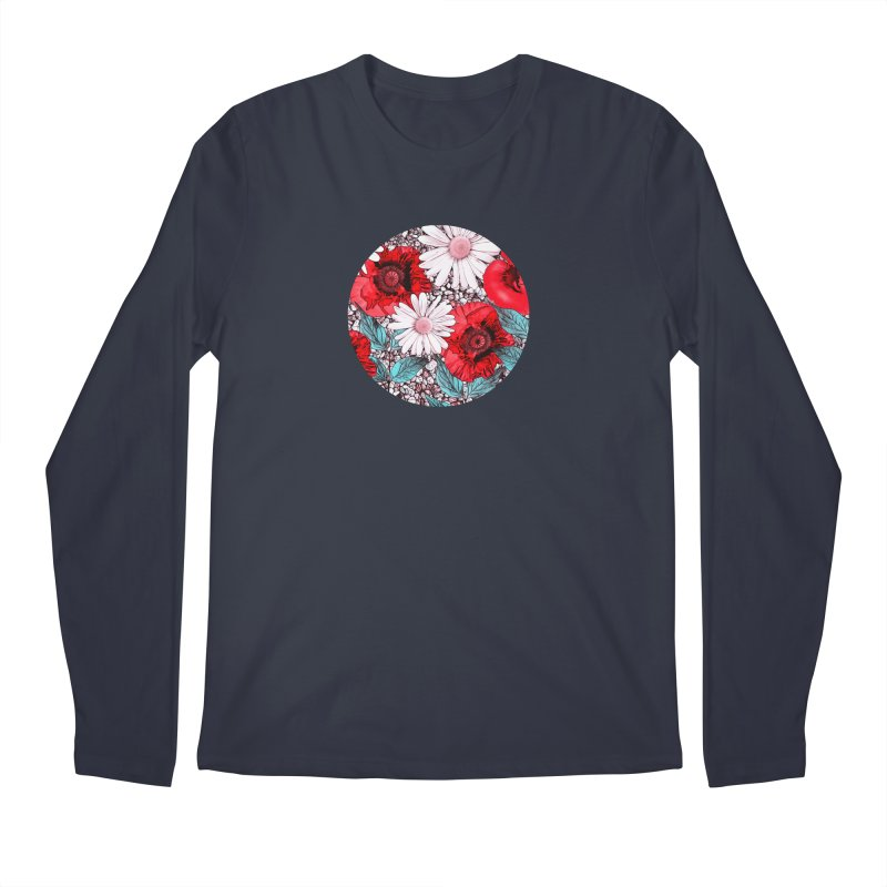 Red Poppies and Margarites Men's Longsleeve T-Shirt by fruityshapes's Shop