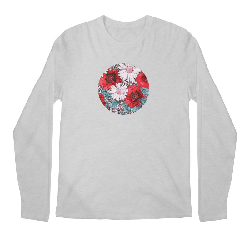 Red Poppies and Margarites Men's Regular Longsleeve T-Shirt by fruityshapes's Shop