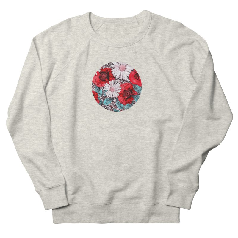 Red Poppies and Margarites Men's French Terry Sweatshirt by fruityshapes's Shop