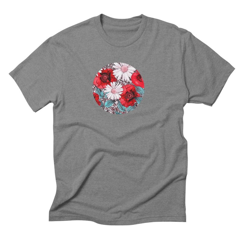 Red Poppies and Margarites Men's Triblend T-Shirt by fruityshapes's Shop