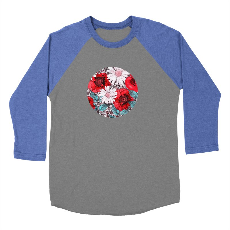 Red Poppies and Margarites Women's Baseball Triblend Longsleeve T-Shirt by fruityshapes's Shop