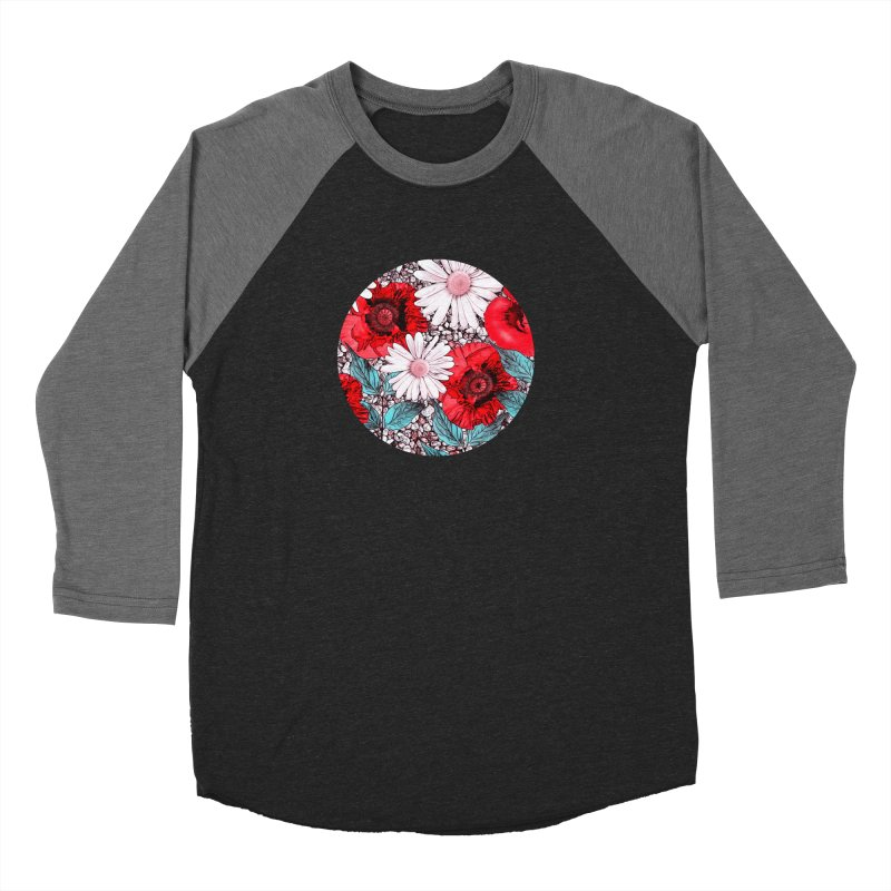 Red Poppies and Margarites Men's Baseball Triblend T-Shirt by fruityshapes's Shop