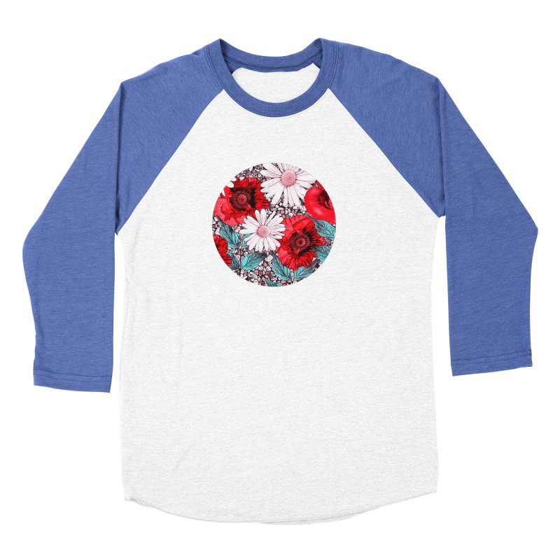 Red Poppies and Margarites Men's Baseball Triblend Longsleeve T-Shirt by fruityshapes's Shop