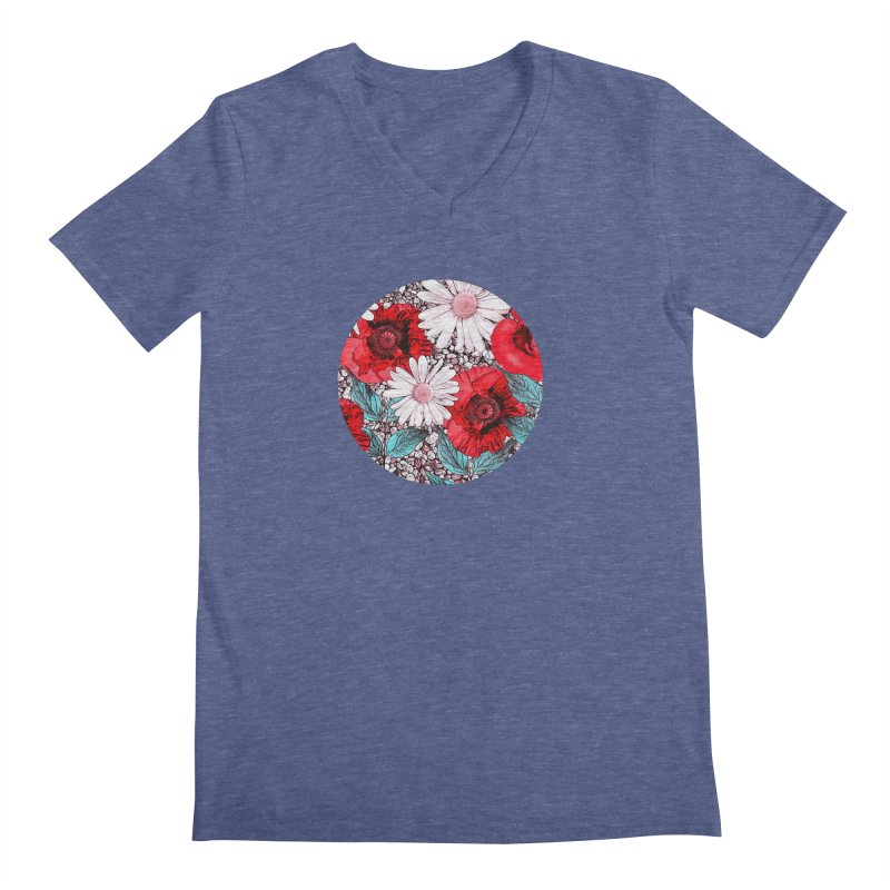 Red Poppies and Margarites Men's Regular V-Neck by fruityshapes's Shop