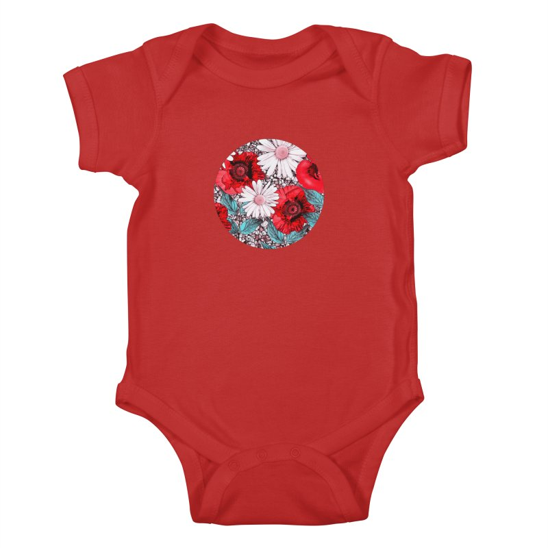 Red Poppies and Margarites Kids Baby Bodysuit by fruityshapes's Shop