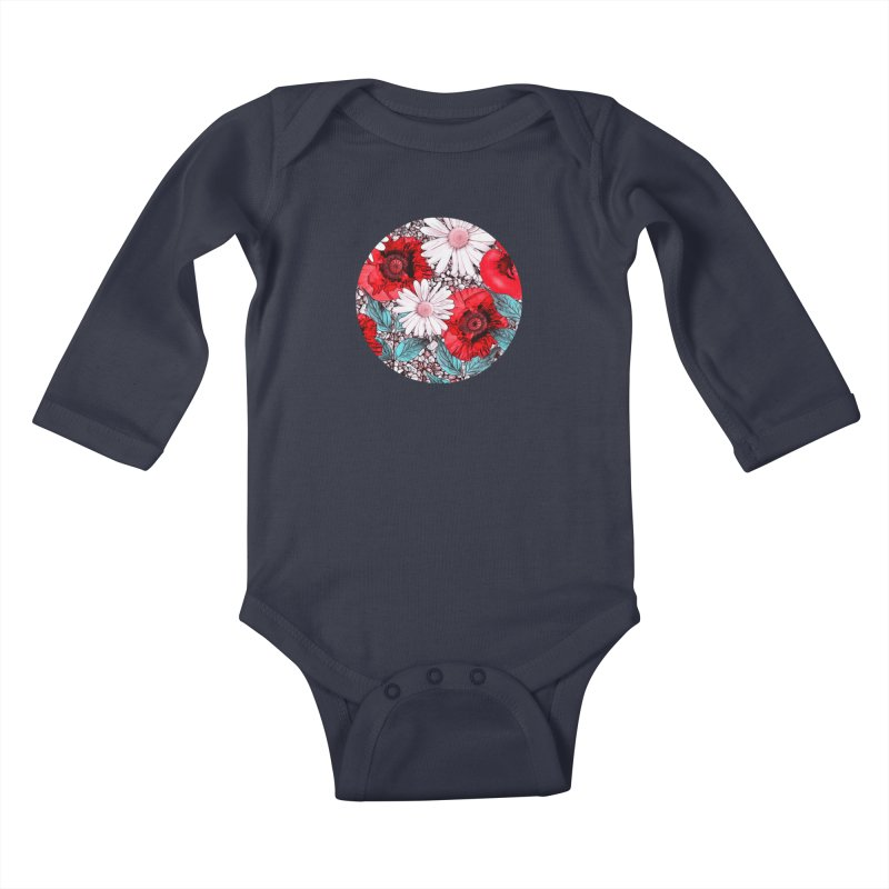 Red Poppies and Margarites Kids Baby Longsleeve Bodysuit by fruityshapes's Shop