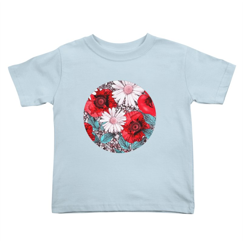 Red Poppies and Margarites Kids Toddler T-Shirt by fruityshapes's Shop
