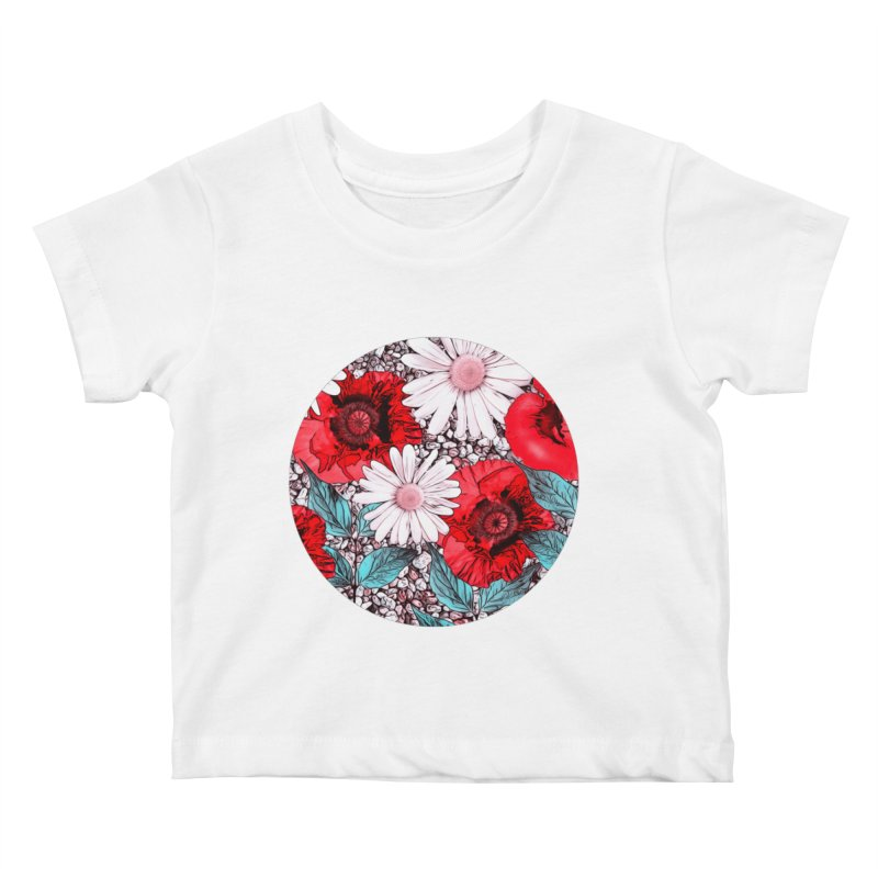 Red Poppies and Margarites Kids Baby T-Shirt by fruityshapes's Shop
