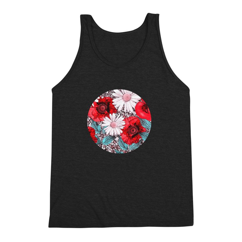 Red Poppies and Margarites Men's Triblend Tank by fruityshapes's Shop