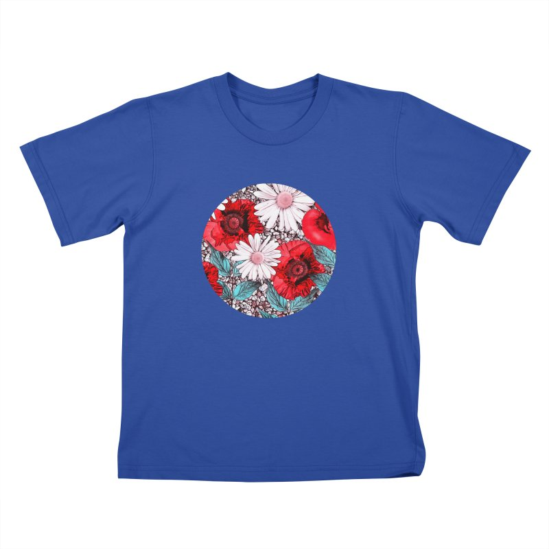 Red Poppies and Margarites Kids T-Shirt by fruityshapes's Shop