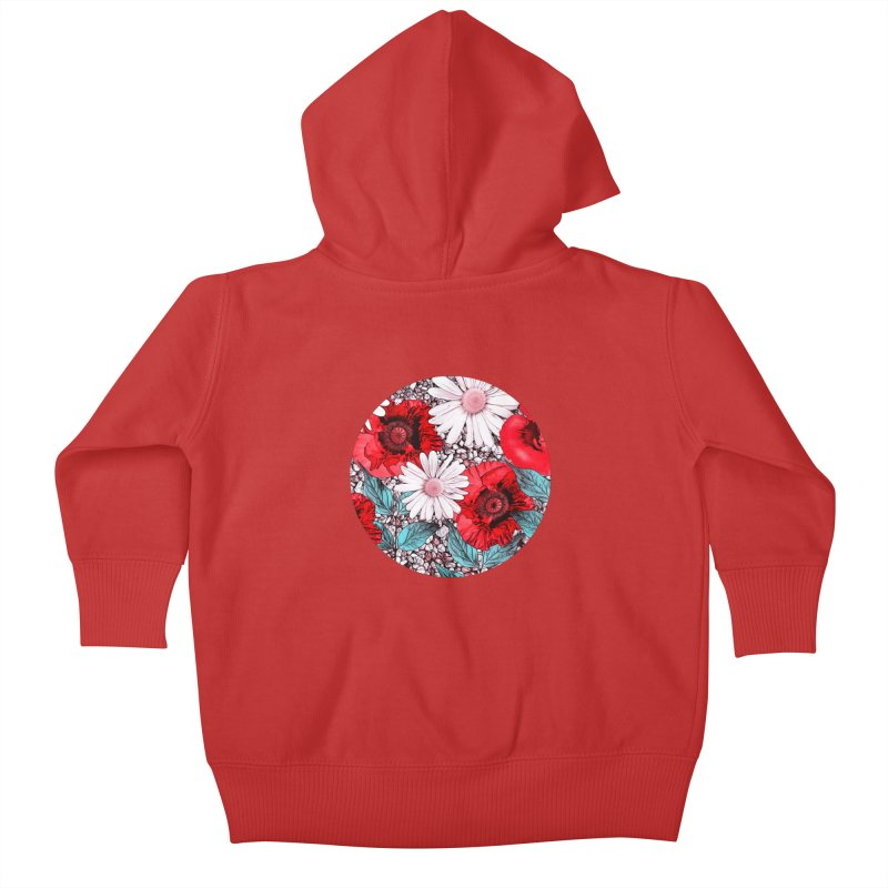 Red Poppies and Margarites Kids Baby Zip-Up Hoody by fruityshapes's Shop