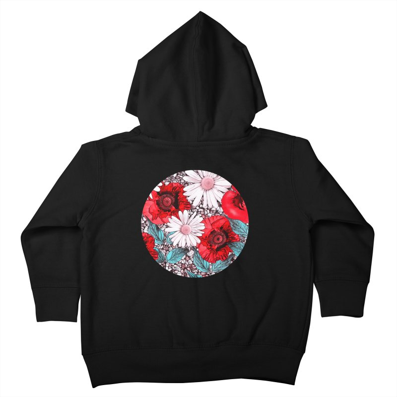 Red Poppies and Margarites Kids Toddler Zip-Up Hoody by fruityshapes's Shop