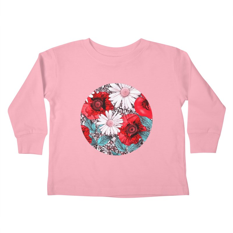 Red Poppies and Margarites Kids Toddler Longsleeve T-Shirt by fruityshapes's Shop