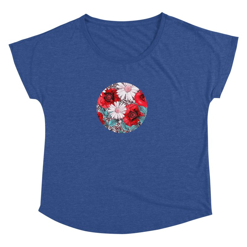 Red Poppies and Margarites Women's Dolman Scoop Neck by fruityshapes's Shop
