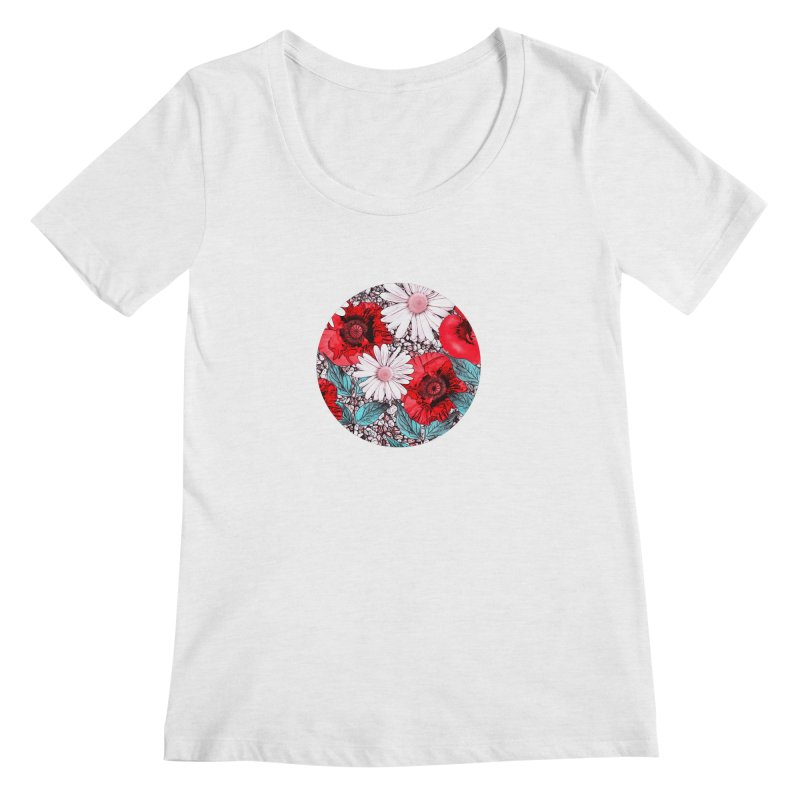 Red Poppies and Margarites Women's Regular Scoop Neck by fruityshapes's Shop