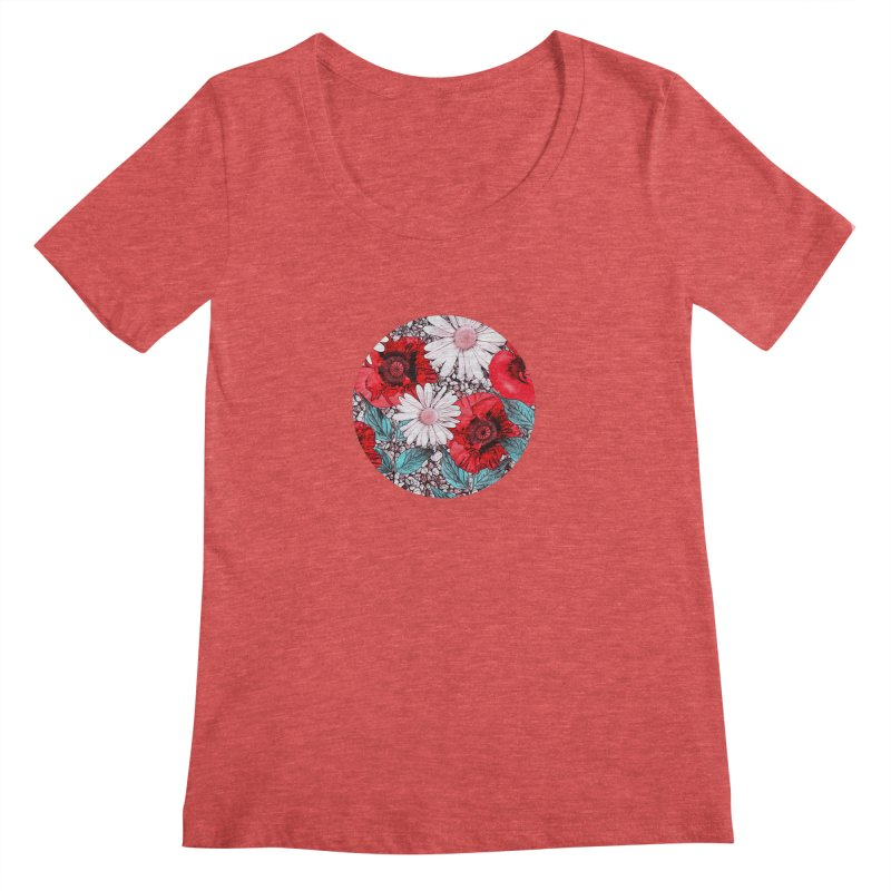 Red Poppies and Margarites Women's Scoopneck by fruityshapes's Shop