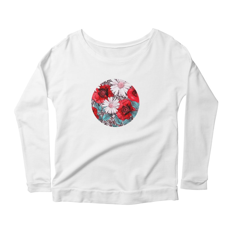 Red Poppies and Margarites Women's Scoop Neck Longsleeve T-Shirt by fruityshapes's Shop