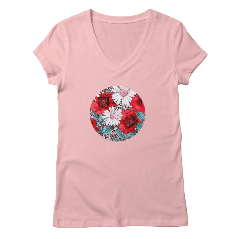 Red Poppies and Margarites Women's Regular V-Neck by fruityshapes's Shop