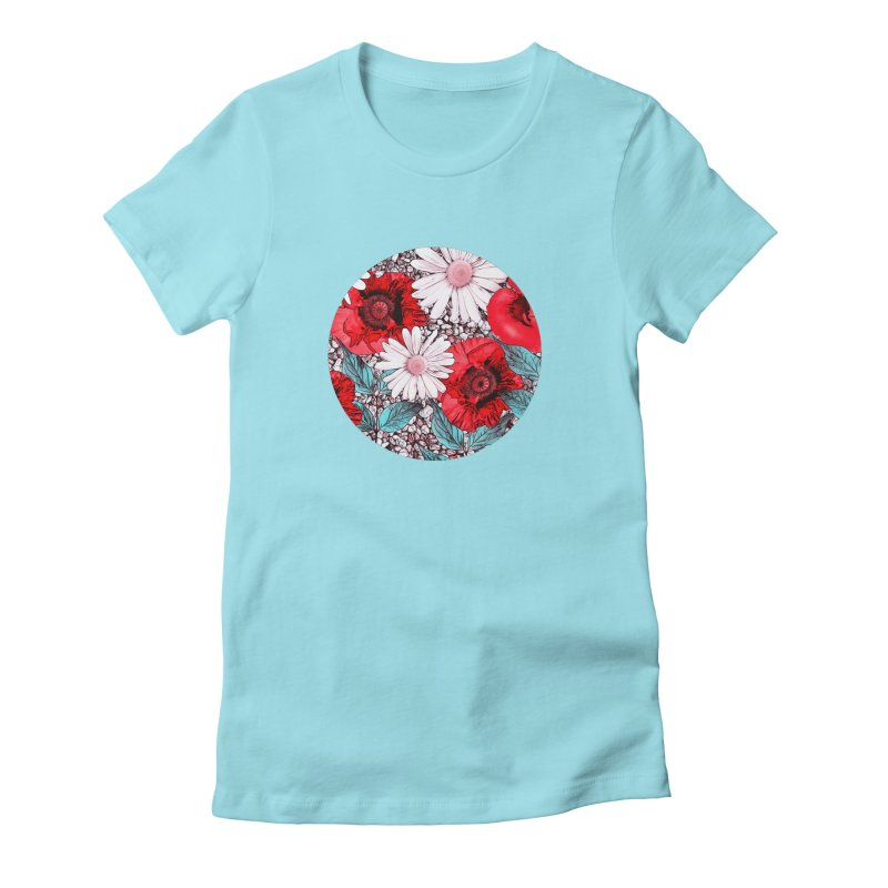 Red Poppies and Margarites Women's Fitted T-Shirt by fruityshapes's Shop