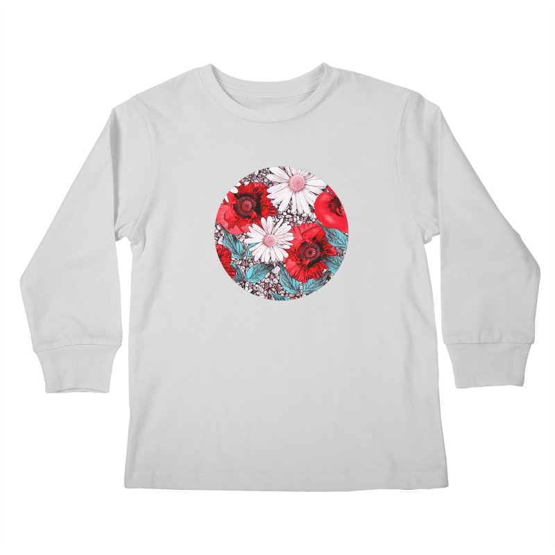 Red Poppies and Margarites Kids Longsleeve T-Shirt by fruityshapes's Shop