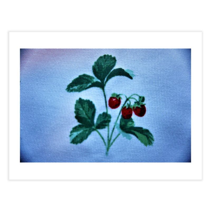 Berry in blue and white background Home Fine Art Print by frydenlundphoto's Artist Shop