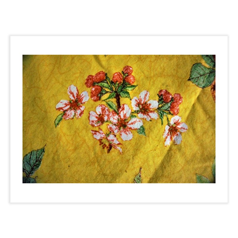 Flowered design whit yellow background Home Fine Art Print by frydenlundphoto's Artist Shop