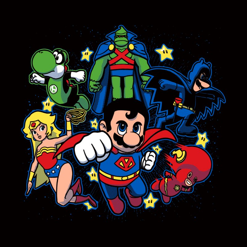 Justice League Mushroom Kids Longsleeve T-Shirt by fuacka's Artist Shop