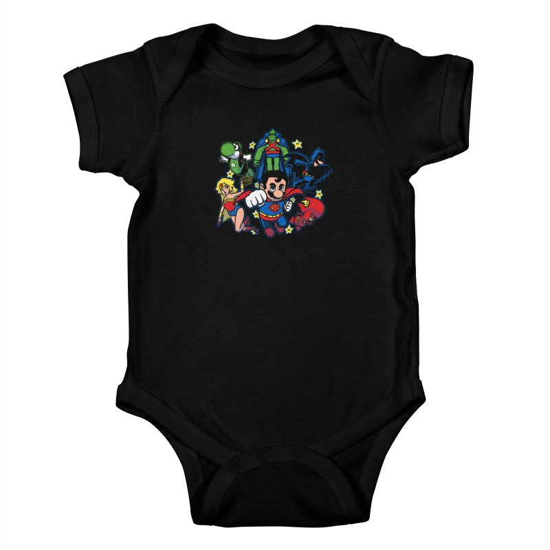 Justice League Mushroom Kids Baby Bodysuit by fuacka's Artist Shop