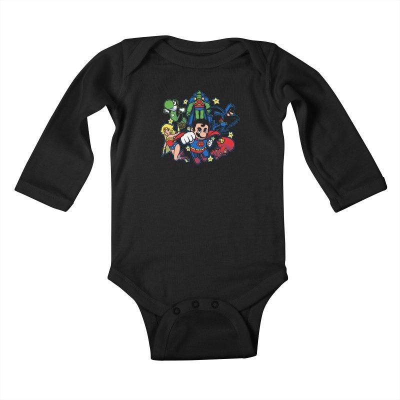 Justice League Mushroom Kids Baby Longsleeve Bodysuit by fuacka's Artist Shop