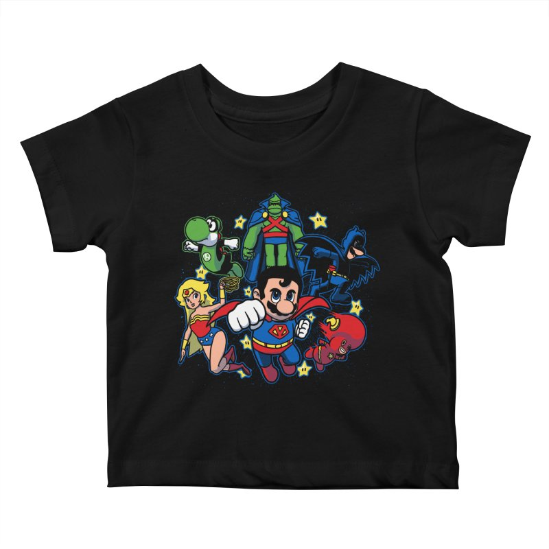 Justice League Mushroom Kids Baby T-Shirt by fuacka's Artist Shop