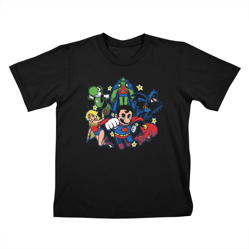 Justice League Mushroom Kids T-shirt by fuacka's Artist Shop