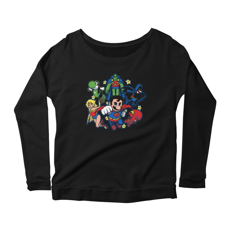 Justice League Mushroom Women's Longsleeve Scoopneck  by fuacka's Artist Shop