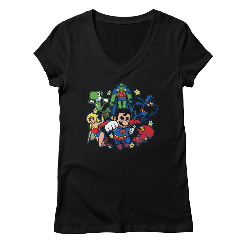 Justice League Mushroom Women's V-Neck by fuacka's Artist Shop