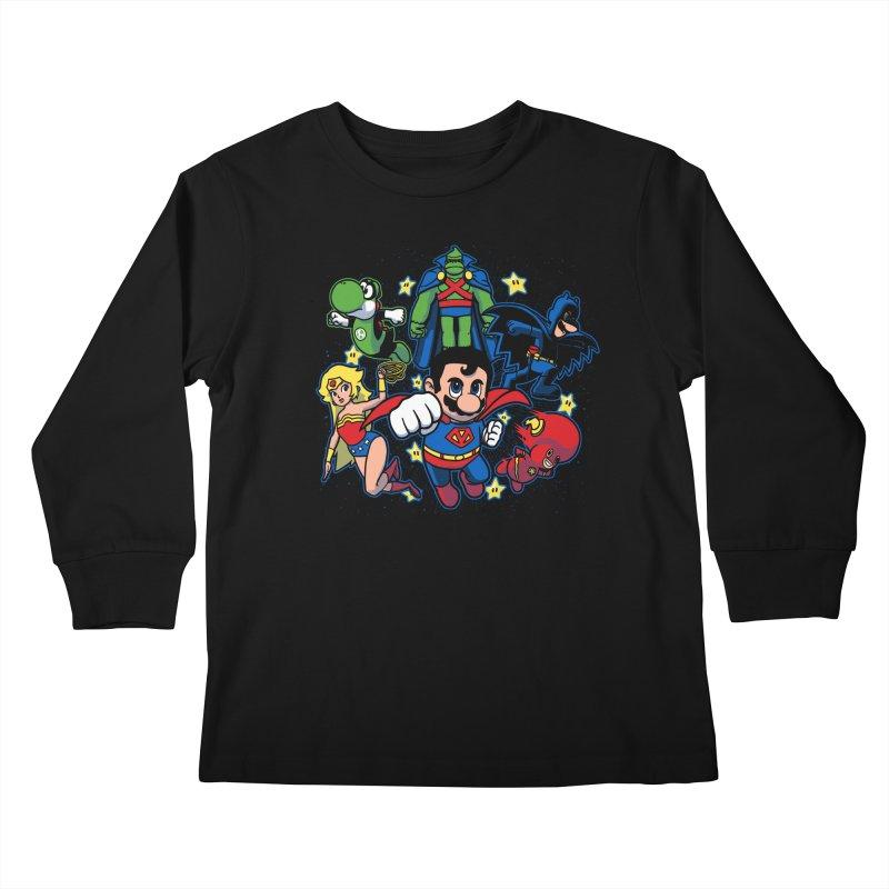 Justice League Mushroom Kids Longsleeve T-Shirt by fuacka's Artist Shop