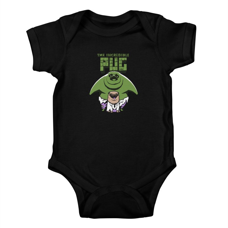 The Incredible Pug Kids Baby Bodysuit by fuacka's Artist Shop
