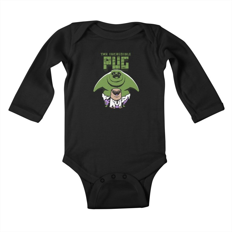 The Incredible Pug Kids Baby Longsleeve Bodysuit by fuacka's Artist Shop