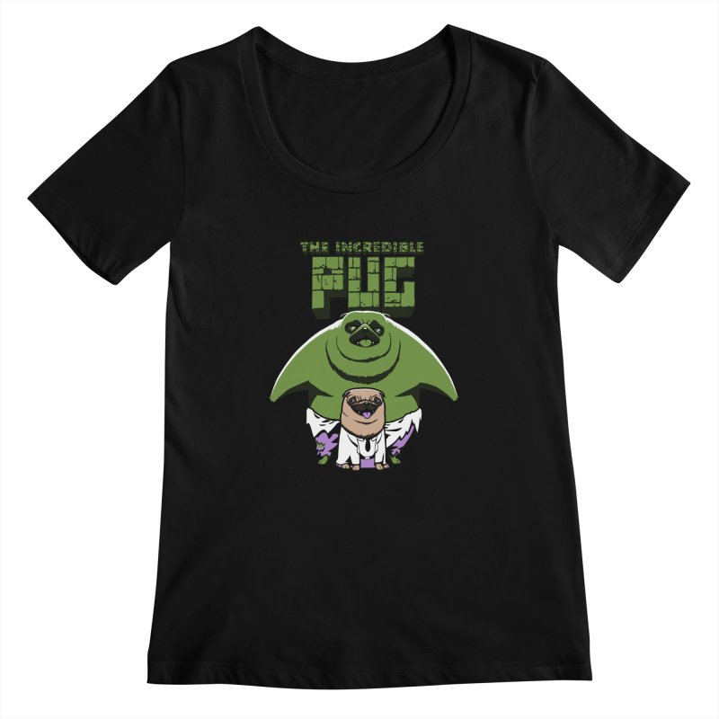 The Incredible Pug Women's Scoopneck by fuacka's Artist Shop