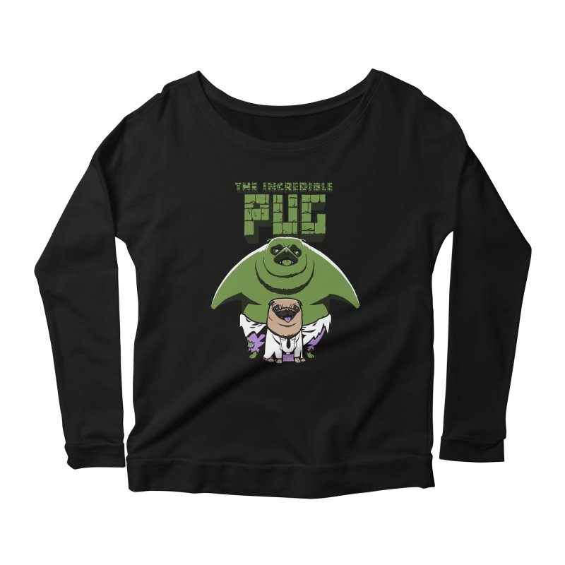 The Incredible Pug Women's Longsleeve Scoopneck  by fuacka's Artist Shop