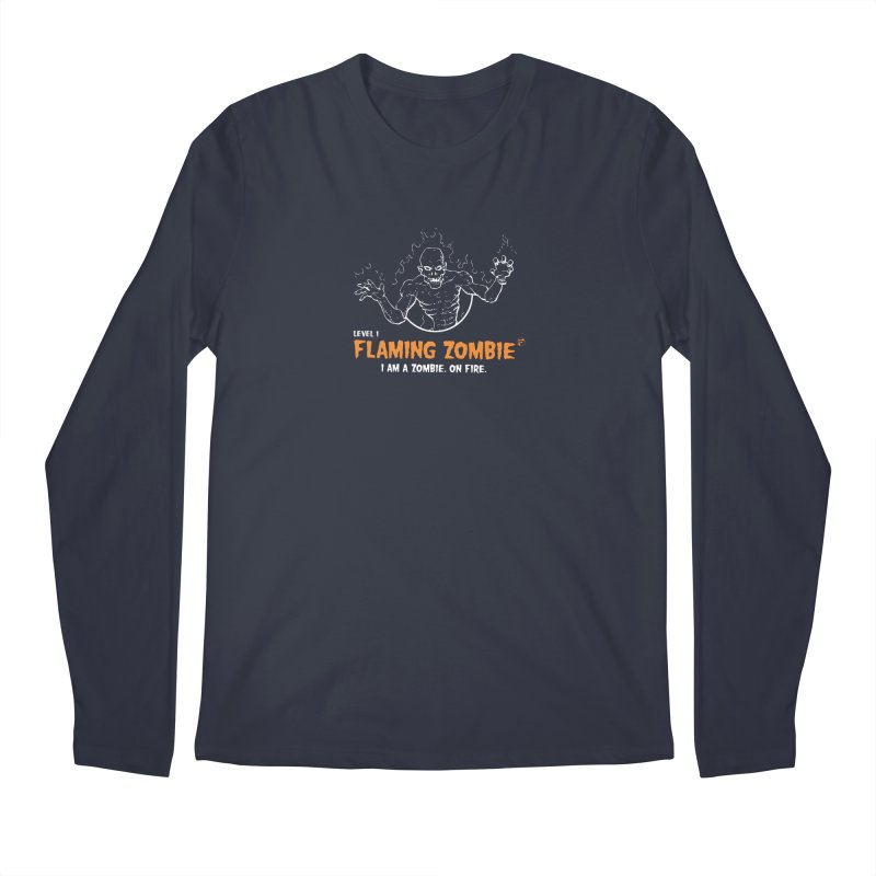 Level 1 Flaming Zombie Men's Longsleeve T-Shirt by Funked