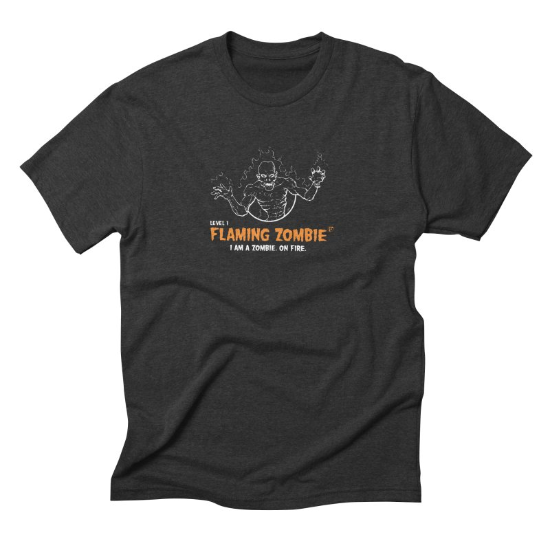 Level 1 Flaming Zombie Men's Triblend T-shirt by Funked