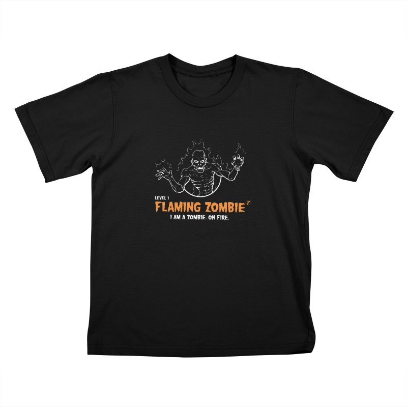 Level 1 Flaming Zombie Kids T-shirt by Funked