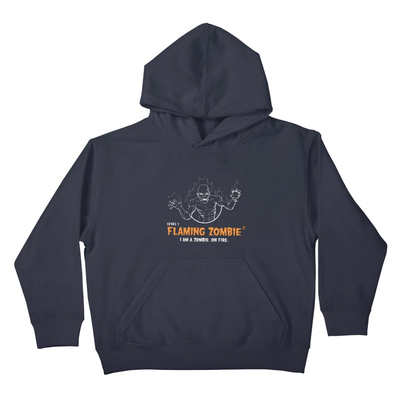 Level 1 Flaming Zombie Kids Pullover Hoody by Funked