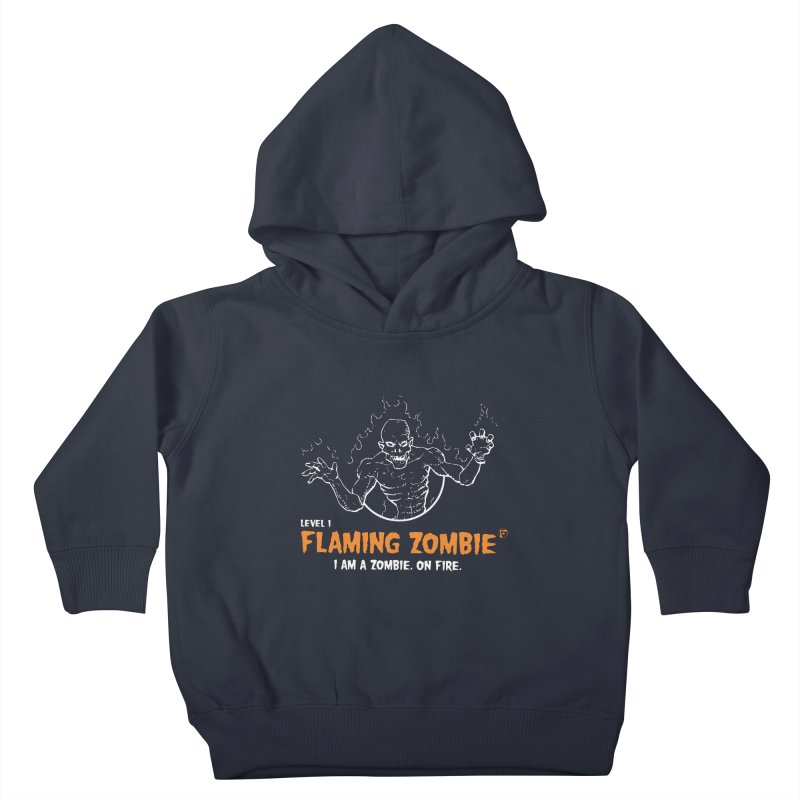 Level 1 Flaming Zombie Kids Toddler Pullover Hoody by Funked