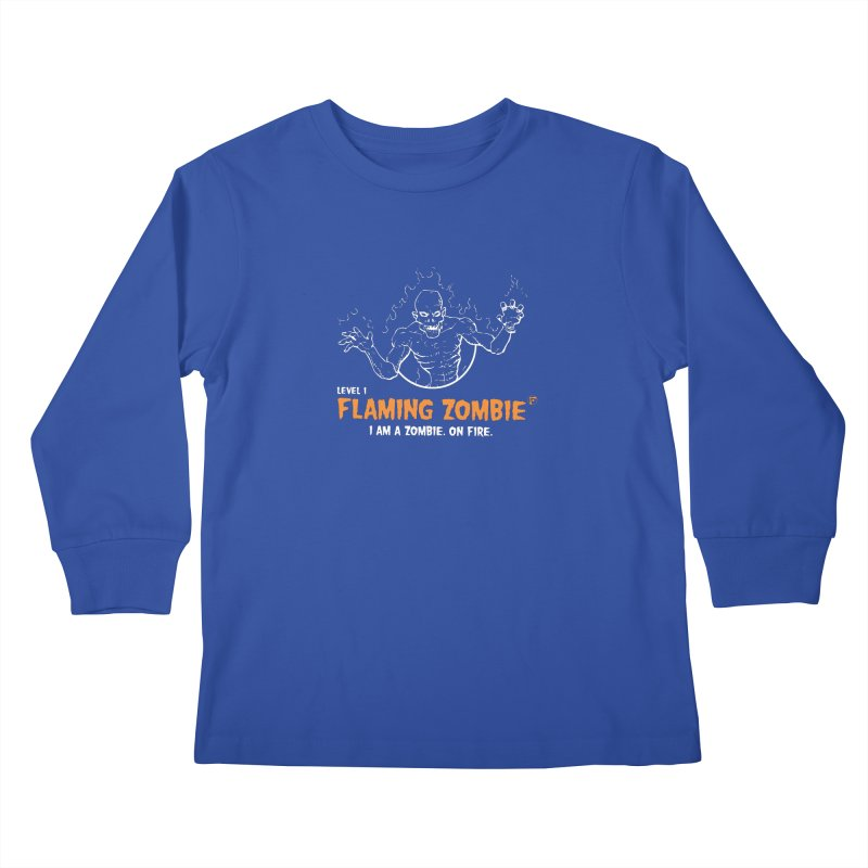 Level 1 Flaming Zombie Kids Longsleeve T-Shirt by Funked